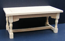 Natural Finish 1 12 Scale Kitchen Table Dolls House Miniature Furniture 002