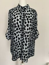 Womens Leopard Print Blouse Size Small Grey Long Sleeve Relaxed Fit