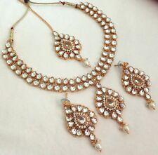 Indian Fashion Jewelry Necklace Set Kundan Gold Plated Bollywood Bridal Wedding