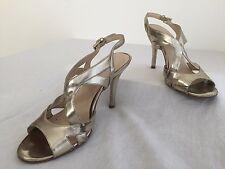 Nine West NoAngelina Open Toe Slingback Sandals Heels Gold Size 7M