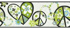 Retro Love & Peace Signs in Lime Green & Blue York Wallpaper Border PW3916B