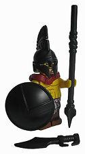 Lego SPARTAN MINIFIGURE W/ Custom Black Weapons & Armor -Ancient Greece-
