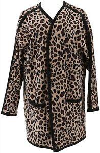 Cuddl Duds Reversible Stretch Fleece Wrap 2 Pockets Black Animal L NEW A369305