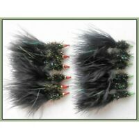 Trout flies, Lures, 12 Per Pack, Nomads Black with Red and Green Noses, size 10