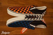 Tenis Vans clásicas Resbalón en Zapatillas de tablero de ajedrez cheques Azul Naranja UK11