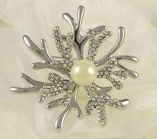 "2.5"" tono argento Barriera Corallina Look Vintage Strass Diamante Spilla di cristallo"