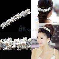 Bridal Bride Wedding Faux Pearl Crystal Rhinestone Flower Hair Clip Comb Pin New