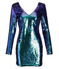 Blue Green Long Sleeve Sequin Dress