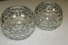 """Home Interiors diamond-cut candle dishes-5.5"""" spheres-two-piece each, no flaws"""
