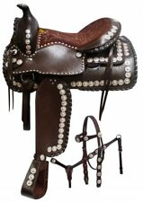 "Full Silver BROWN Double T Western Pleasure Trail Show Saddle 16"" Headstall BP"