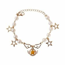 Anime Card Captor Sakura Cosplay Star Wing Pearl Metal Bracelet Bangle