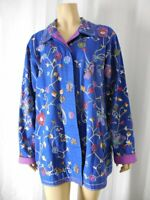 QUACKER FACTORY Jacket Large blue beaded embroidery flowers Butterflies