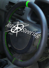 FOR PEUGEOT 307 BLACK GENUINE LEATHER STEERING WHEEL COVER + GREEN STRAP 2001-08