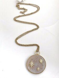 "Lucky Brand Star Semi Precious Pink Pendant 30"" Long Necklace Gold Tone"