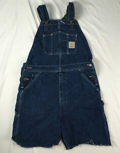 "CARHARTT cut off size 34 carpenter overall shorts blue denim 7"" inseam"