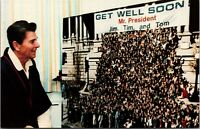 1980s Postcard President Ronald Reagan Get Well Greetings After Being Shot