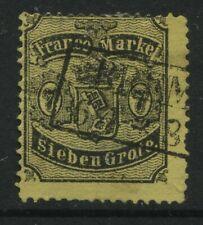 Bremen 1867 7 gr black on yellow used thin