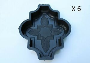 Set of 6 Plastic Molds/Forms To Make Beautiful Concrete Paver Stones For Patio