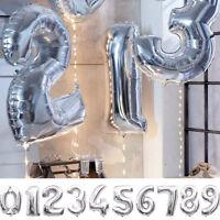 Palloncino gonfiabile palloncini numero numeri compleanno festa 76cm ARGENTO