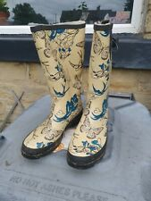 Used split size 5 butterfly womens wellies - plantpot upcycle use maybe