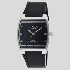 OMAX Slim Sporty Square Dail Unisex Rubber Strap Classic Dress Wrist Watch D006 D006p22i - Black Silver Bezel