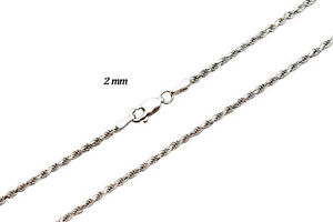 """14k Solid White Yellow Rose Gold 2mm Rope Chain Necklace Size 16""""-30"""""""