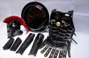 MEDIEVAL MUSCLE JACKET LEG ARMOR & BRACERS KING SPARTAN 300 HELMET W/ RED PLUME
