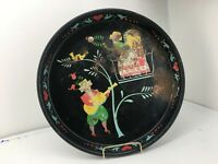 Vintage Black Metal Dutch Folk Art Counting Couple Hand Painted Serving Tray