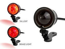 LED Stop Tail Light Red Lens Black CNC Machined Ally Vintage Retro Custom