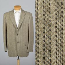 XL 44L 1950s Tan Tweed Striped Mens Sportcoat VTG Single Vent Medium Lapels
