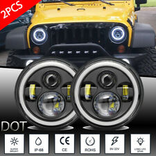 "Pair 7"" INCH 600W LED Headlights Halo Angle Eye For Jeep Wrangler CJ JK LJ 97-18"