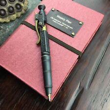 Handmade Brass Ballpoint Pen EDC Black Creative Retro Bolt Type Tactical Pen