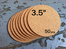 """3.5"""" ROUND Blank Cork Coasters, 1/8"""" thick, 50-pack"""