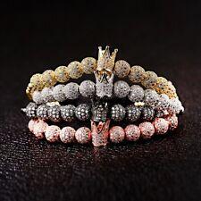 10 Pieces zircon Balls 1 Crown Hand-Woven Men's 4MM Copper Beads Bracelet Diy