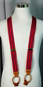 """Dooney & Bourke RED BLUE SILK BROWN LEATHER BUTTON Y-BACK 1.5""""Wd SUSPENDERS (F49"""