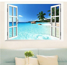 3D Beach Sea Wall Sticker Decal Art Decor Vinyl Home Room Window Door Mural
