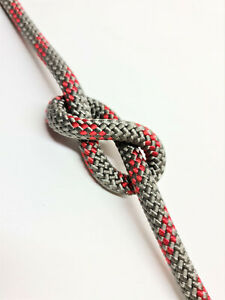 12mm 44mt Zet Twist Braid on Braid Marine Polyester Rope Grey With Red Fleck