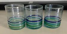 Blown Glass Tumblers Swirl Blue Set Of 3