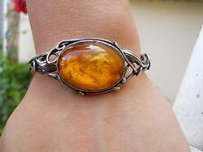 Ancien bracelet argent et ambre  couleur miel style art nouveau 1900