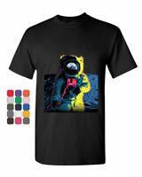 Neon Astronaut T-Shirt Moon Landing Space Travel Universe Earth Mens Tee Shirt