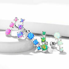 3 Opal Set Ear Cartilage Piercing Lobe Helix Tragus Barbell Stud Earring