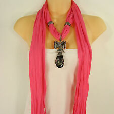 Women Scarf Pink Soft Fabric Fashion Long Necklace Big Glass Bow  Pendant Charm