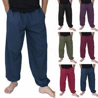 Hommes Pantalons coton 100% Sarouel Pantalon Hippy Aladdin Beach Yoga Pantalons