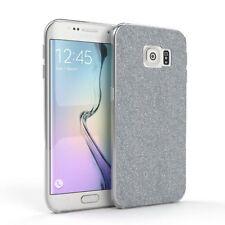 Schutz Hülle für Samsung Galaxy S6 Edge Glitzer Cover Handy Case Silber
