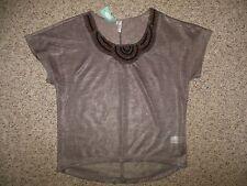 NWT! Studio Y Woman Small Brown Bronze Metallic Beaded Scoop Neck Blouse Top