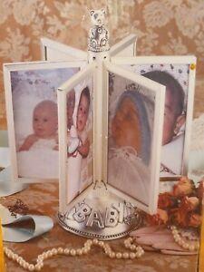 "Silver Plated Satin Finish Revolving Baby Photo Album By Godinger 12 x 14""x6"""