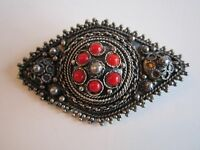 VINTAGE STERLING SILVER & RED CORAL BROOCH/PIN - DESK-A