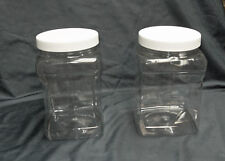 1/2 or 1 Gallon  Clear PET Plastic Square Wide Mouth Jars w/ White  Lined Caps