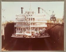 c.1970s-80s Photo MISSISSIPPI QUEEN Paddle Wheel Steamboat Cruiser in Dry Dock