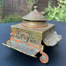 Antique Ornate Patinated Brass Heavy Footed Inkwell Victorian Oval Portrait